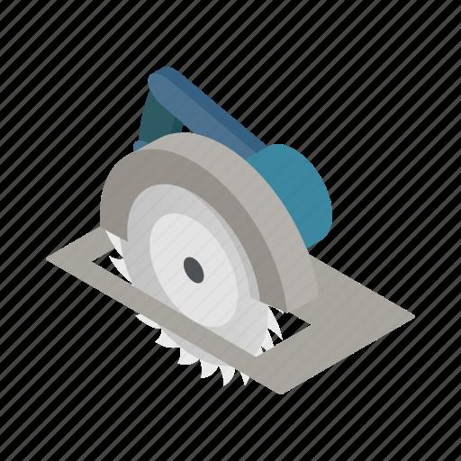 blade, circular, equipment, isometric, saw, sharp, tool icon