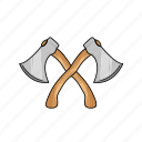 axe, cross, cross axe, hatchet, lumberjack, tool, woodcutter icon