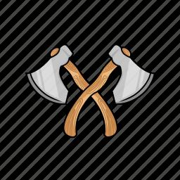 axe, cross, cross axe, hatchet, lumberjack, tool, woodcutter icon
