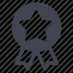 badge, luxury, medal, ribbon, star icon