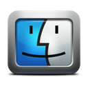 apple, face, finder, mac os x, mettalic icon