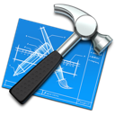 xcode, hammer, blueprint, tool, build, development, develop, developing icon
