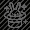 focus, hat, magic, magician, rabbit, trick icon