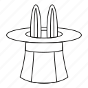 magic, outline, drink, rabbit, line, magician, hat icon