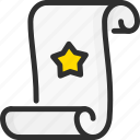 magic, scroll, show, spell, star icon