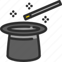cylinder, hat, magic, show, stick, wand icon