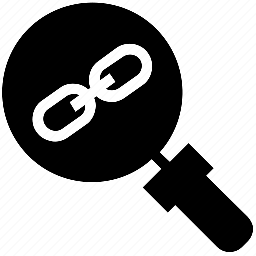 chain, find, glass, magnifier, magnifying glass, search, zoom icon