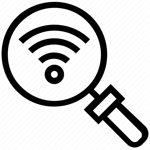 find, glass, magnifier, magnifying glass, search, wifi signals, zoom icon