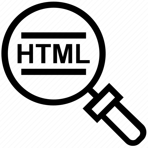 find, glass, html code, magnifier, magnifying glass, search, zoom icon