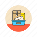 box, delivery, document, envelope, letter, mail, seal icon