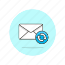 delivery, email, envelope, inbox, letter, refresh, sync icon