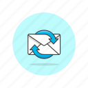 arrow, envelope, letter, mail, refresh, sync, wait icon
