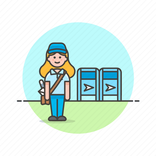 box, delivery, envelope, letter, mail, profession, woman icon
