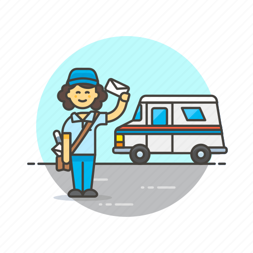 delivery, envelope, letter, mail, post, profession, truck, woman icon