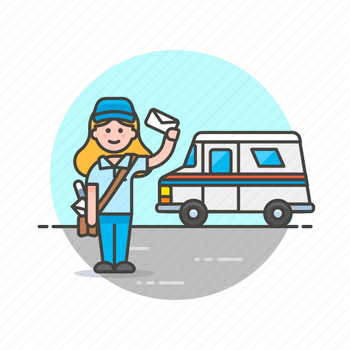 delivery, envelope, mail, post, profession, truck, van, woman icon