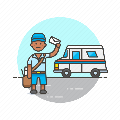 delivery, envelope, letter, mail, post, profession, truck, van icon