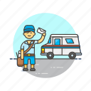 postman, truck, mail, profession, delievery, transport, van