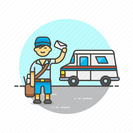 delievery, mail, postman, profession, transport, truck, van icon