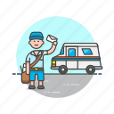 delivery, envelope, letter, mail, postman, profession, truck, van icon