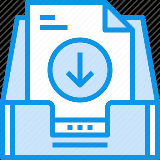 arrow, box, communication, document, inbox, letter, mail, message icon