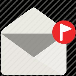 envelope, flag, letter, mail icon