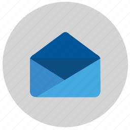 email, letter, mail, message, open, round icon