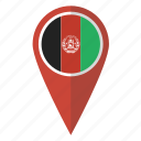 afghan, afghani, afghanistan, country, flag, map marker, pin icon