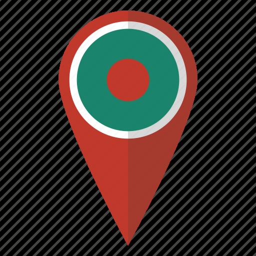 bangla, bangladesh, bangladeshi, country, flag, map marker, pin icon