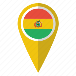 bolivia, bolivian, country, flag, map marker, national, pin icon