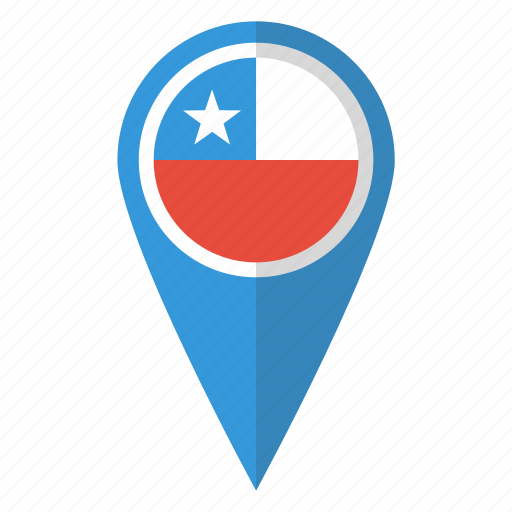 chile, country, flag, map marker, national, pin icon