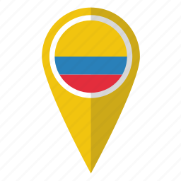 colombia, colombian, country, flag, map marker, national, pin icon