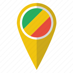 congo, country, flag, map marker, national, pin icon