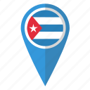 country, cuba, cuban, flag, map marker, national, pin icon