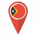east timor, flag, map, pin icon