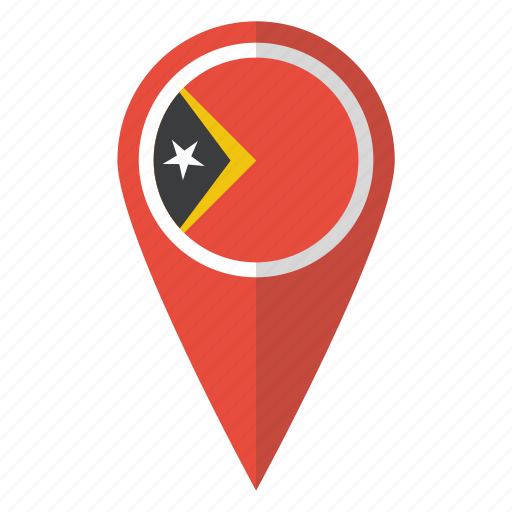 east, flag, map marker, national, pin, timor, timorean icon