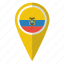 country, ecuador, flag, map marker, national, pin, pointer icon