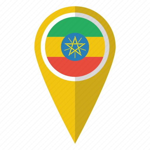 country, ethiopia, ethiopian, flag, map marker, national, pin icon