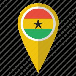 country, flag, ghana, ghanaian, ghanan, map marker, pin icon