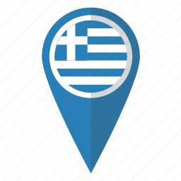 country, flag, greece, greek, map marker, national, pin icon
