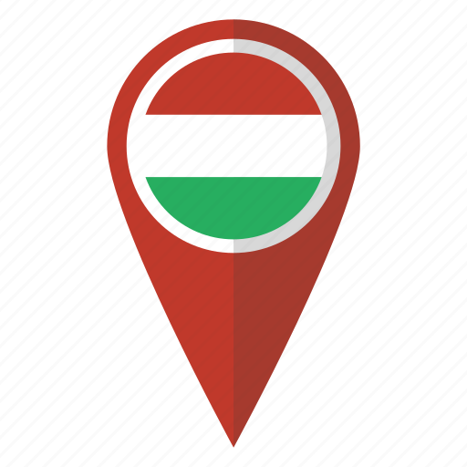 country, flag, hungarian, hungary, map marker, national, pin icon