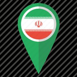 country, flag, iran, irani, iranian, map marker, pin icon