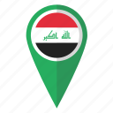 country, flag, iraq, iraqi, map marker, national, pin icon