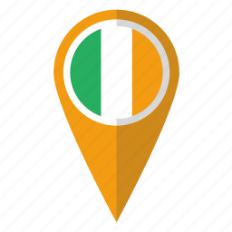 country, flag, ireland, irish, map marker, national, pin icon