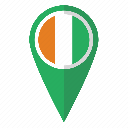 coast, cote, country, divoire, flag, ivory, map marker icon