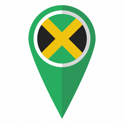 country, flag, jamaica, jamaican, map marker, national, pin icon
