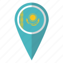 country, flag, kazakh, kazakhstan, kazakhstani, map marker, pin icon