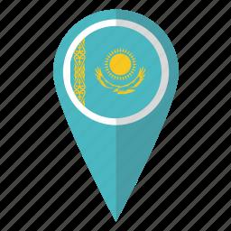 country, flag, kazakh, kazakhstan, kazakhstani, map marker, pin icon