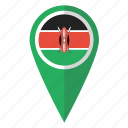 country, flag, kenya, kenyan, map marker, pin, pointer icon