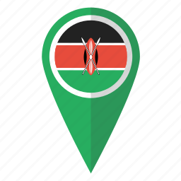 country, flag, kenya, kenyan, map marker, pin, pointer icon
