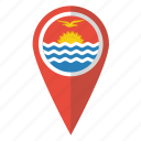country, flag, kiribati, map marker, national, pin icon